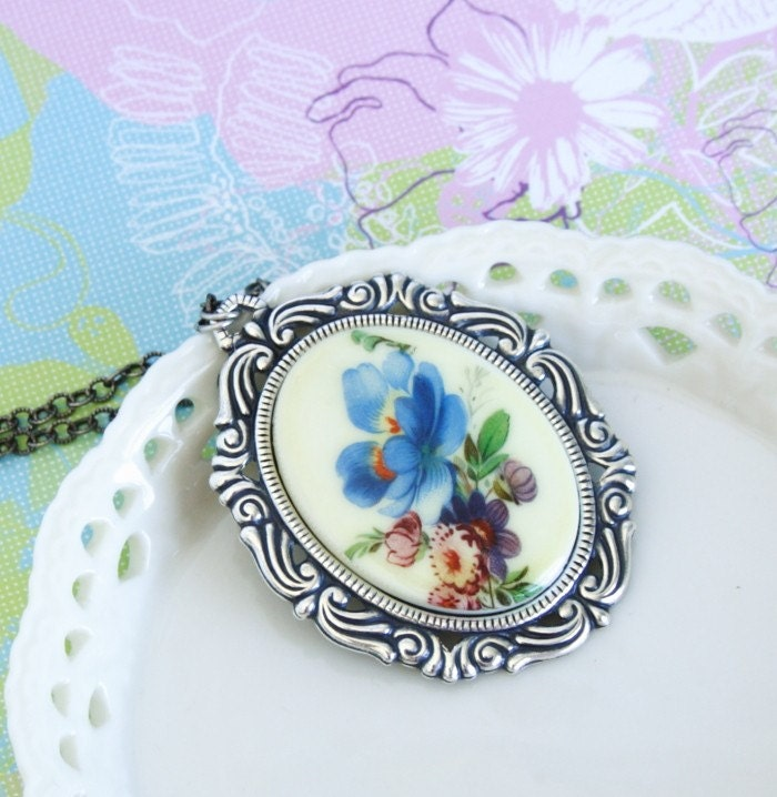 Vintage Blue and Purple Floral Cameo Necklace