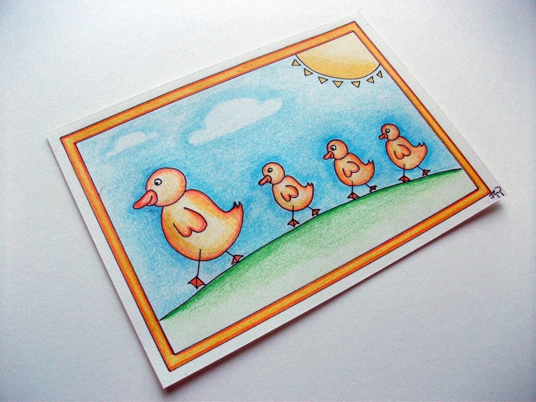 "Original Drawing, Mummy and Baby Ducks, 5"" x 7"""