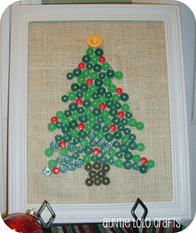 Christmas Tree Button Art on Burlap