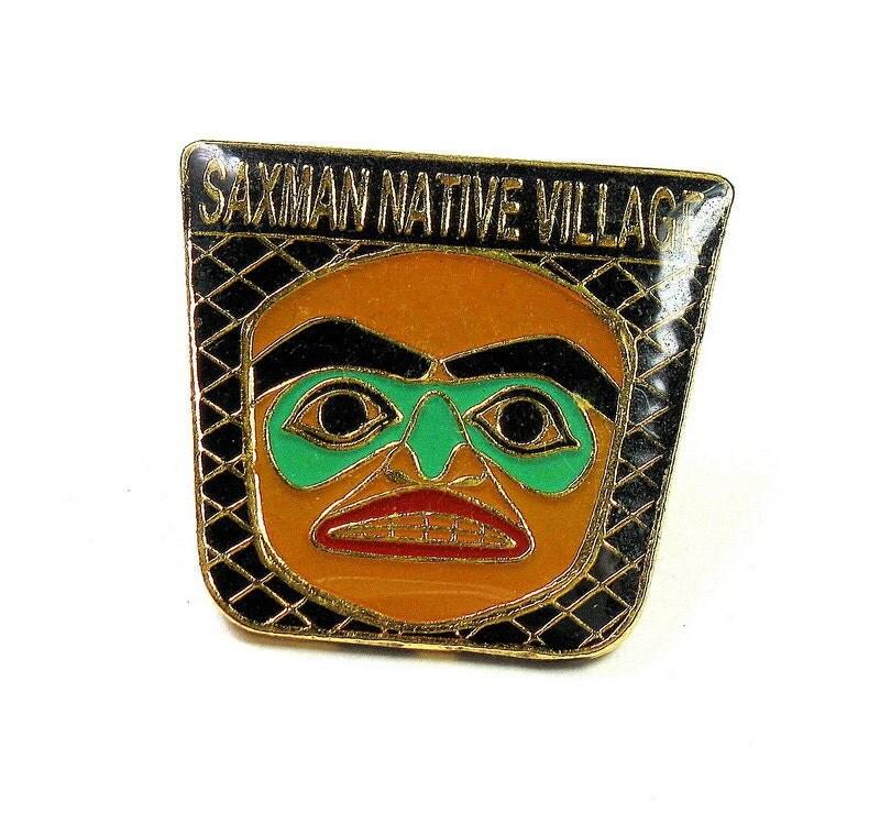 Vintage, Collectible, Saxman Native Village, Trading Pin