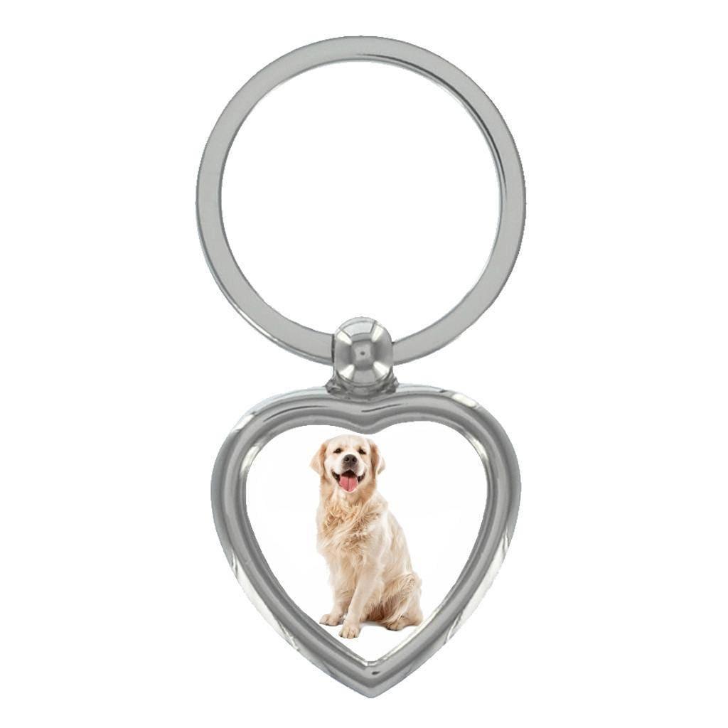 Golden Retriever Image Heart Shaped Keyring in Gift Box