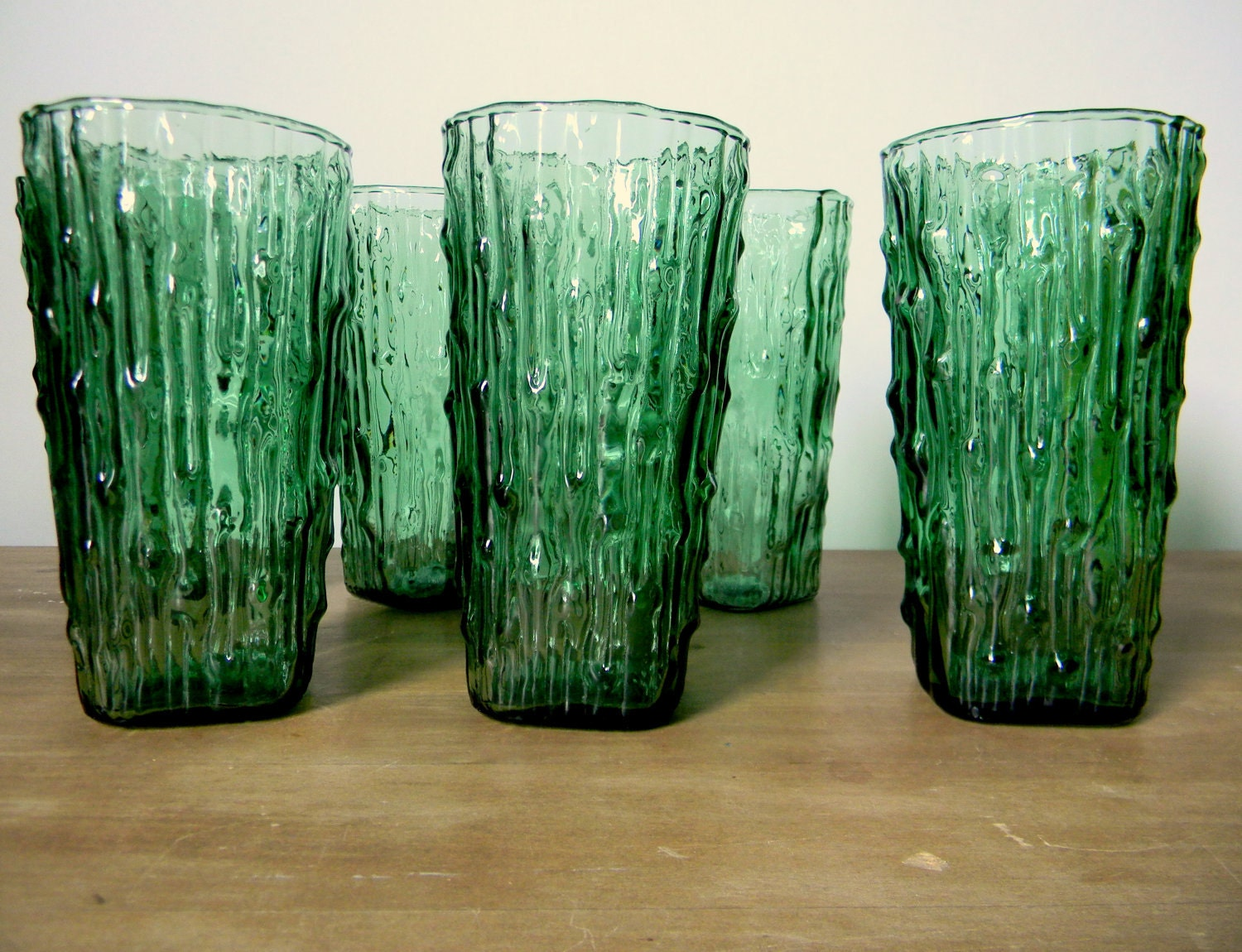 Vintage green bamboo glassware