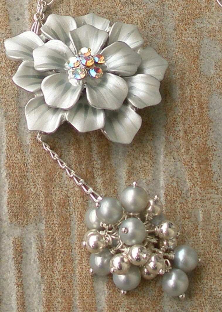 Vintage Style Blue Enamel Pendant, Pearls and Sterling Necklace