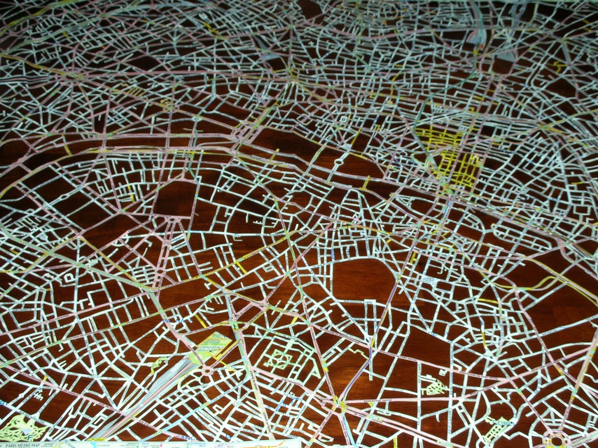 paris, hand cut map