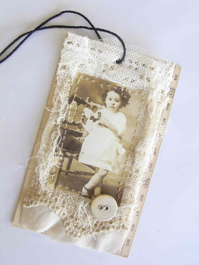 Altered Art Tag - Sepia and Cream
