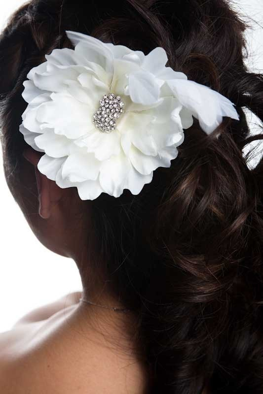Feathered Peony Head Piece (or brooch)