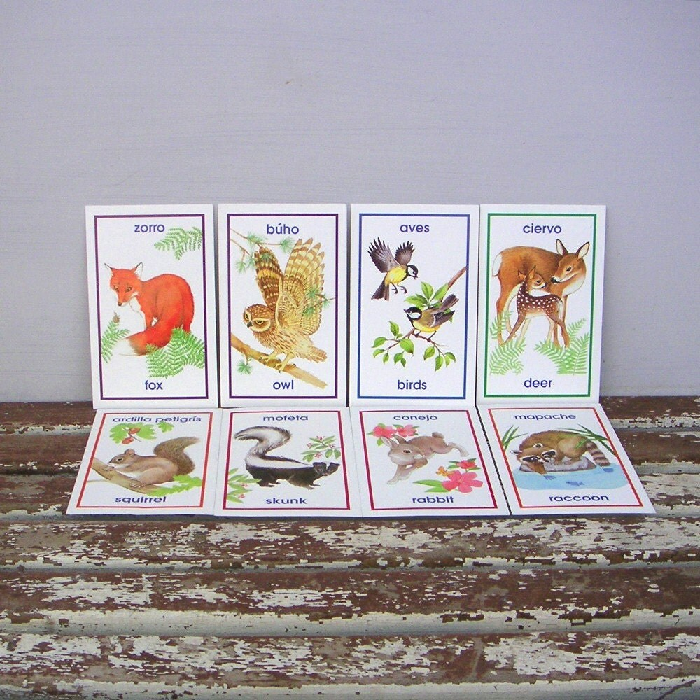 Woodland Animals Bilingual Flash Cards