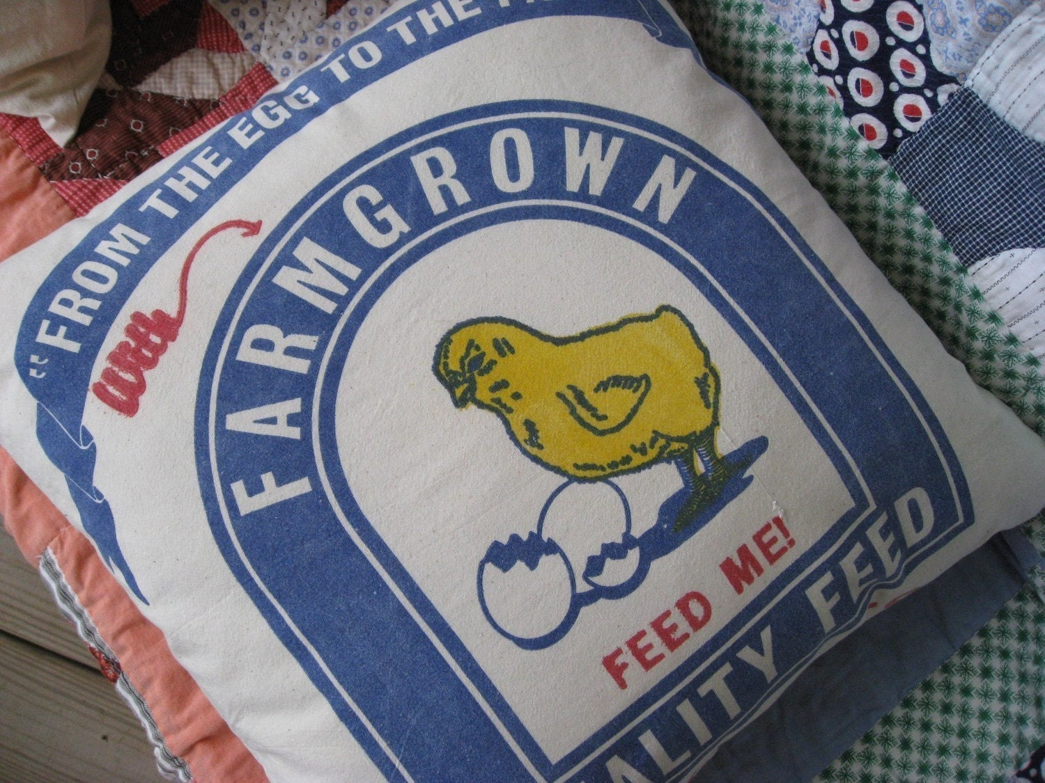 ON SALE - Chicken Feed Pillow  - Feed Me with Farm Grown Quality Food - Cute Yellow Chick - Grain Sack Pillow