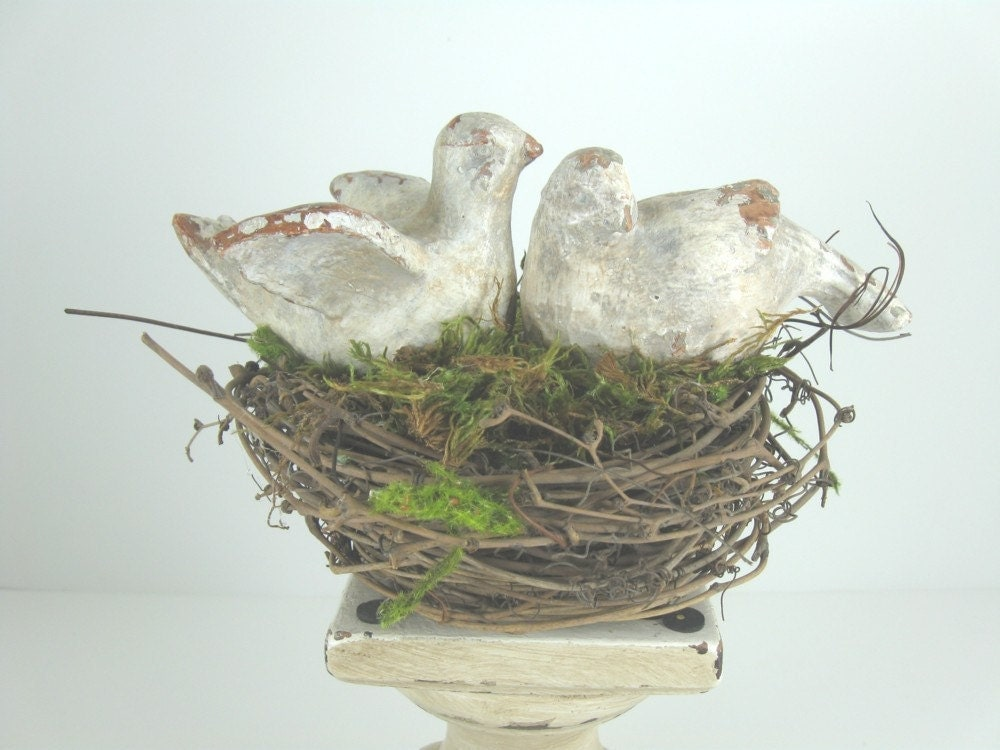 Garden Chic Lovebirds in Nest Wedding Cake Topper