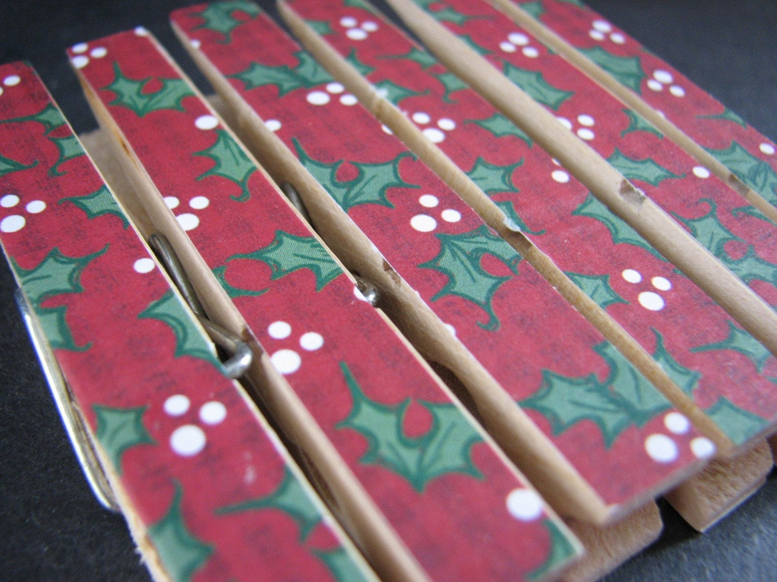 Set of 6 - Trendy Decoupaged Clothespin Clips - Christmas Red with Green Holly Leaves