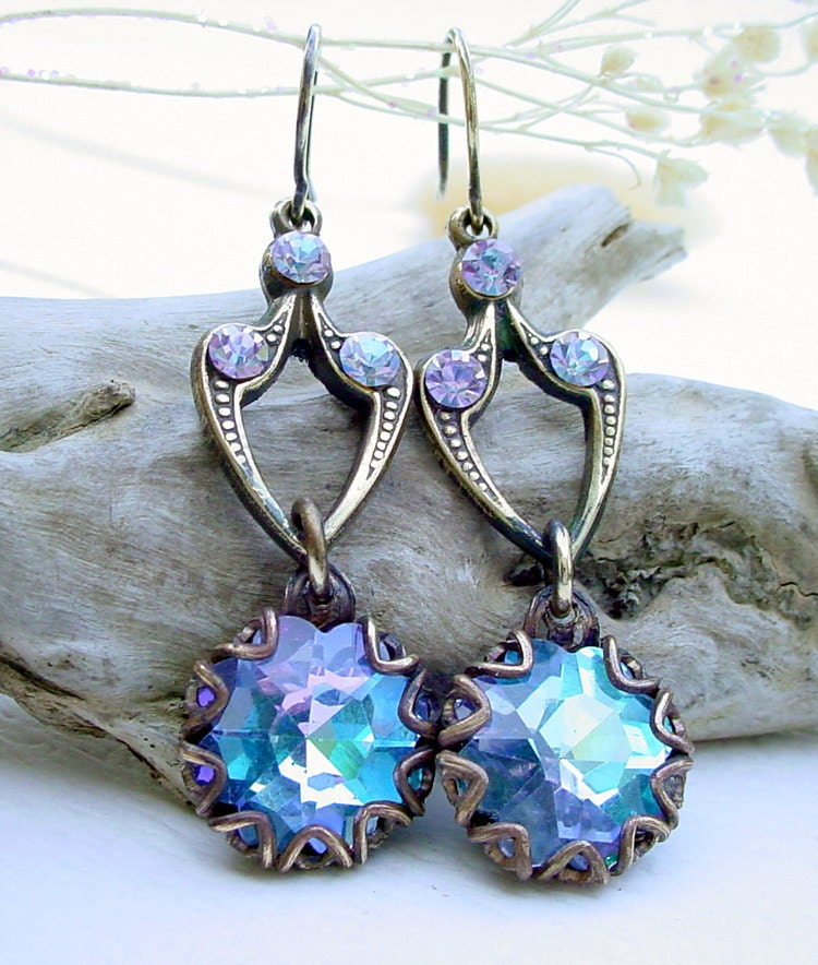 Swarovski Vitrail Light Brass Glass Earrings by Katofmanycolors from etsy.com