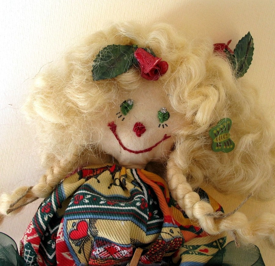 SALE CHRISTMAS IN JULY-Italian vintage cotton OOAK handmade doll- Mirtilla