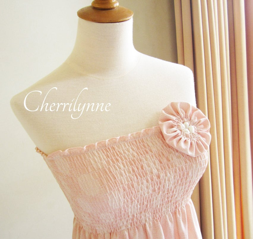 Summer Dress with Smocking Details and Fabric Flower Brooch - Cherrilynne