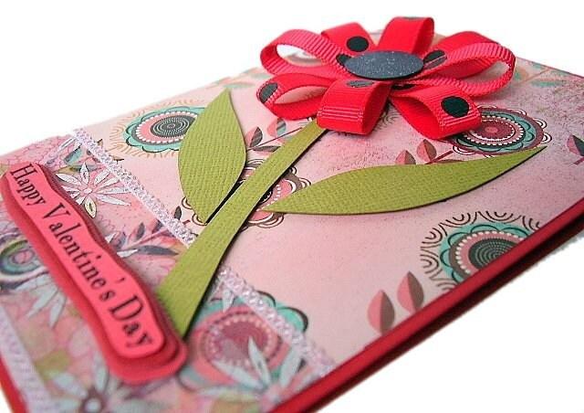 Handmade Valentines  Cards on Red Flower Happy Valentine S Day Handmade Card