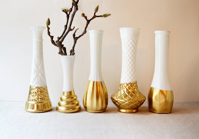 Brilliant Gold Dipped Milk Glass Vases - Set of 5 vases - vintage - NellieFellow