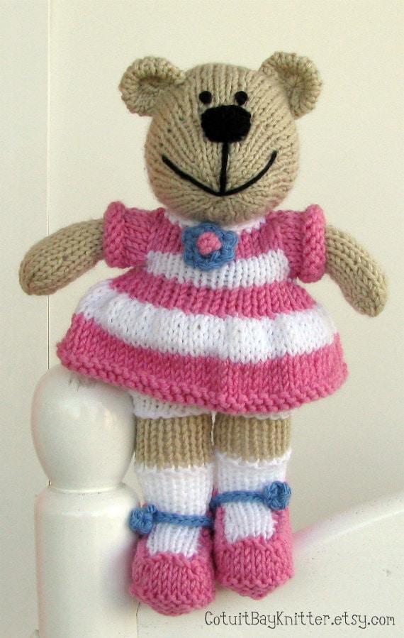Knitting Patterns Teddy Bear Stuffed Animals : Hand Knitted Bear Plush Doll Stuffed Animal by cotuitbayknitter