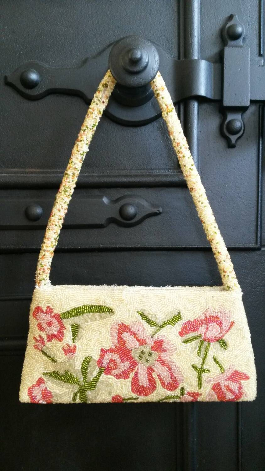 Vintage Laura Ashley Hand Made Bead Handbag Intricate Flowers Floral Pattern. Evening Bag