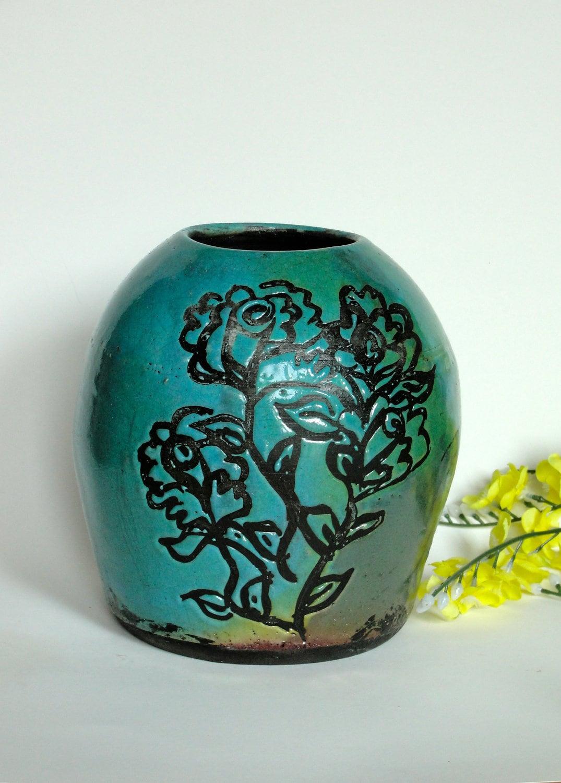 Raku Vase,Roses,Teal Blue, Ceramic Stoneware,Hand Painted, Wax Resist,Wedding Gift,Bridal Gift, Anniversary Gift