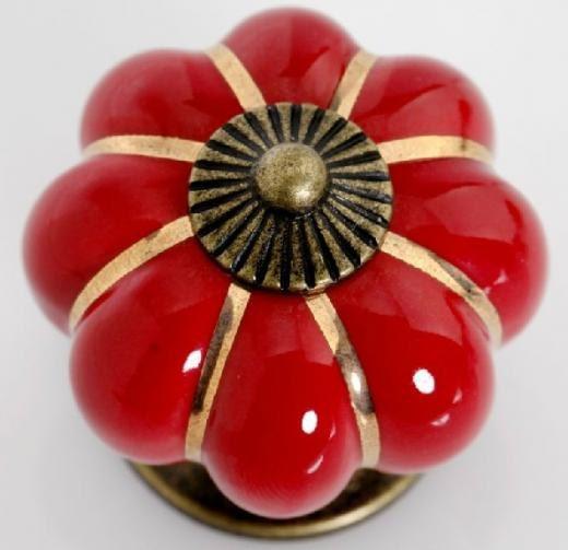 Red Kitchen Cabinet Knobs Pulls Handles Ceramic  Dresser Knob