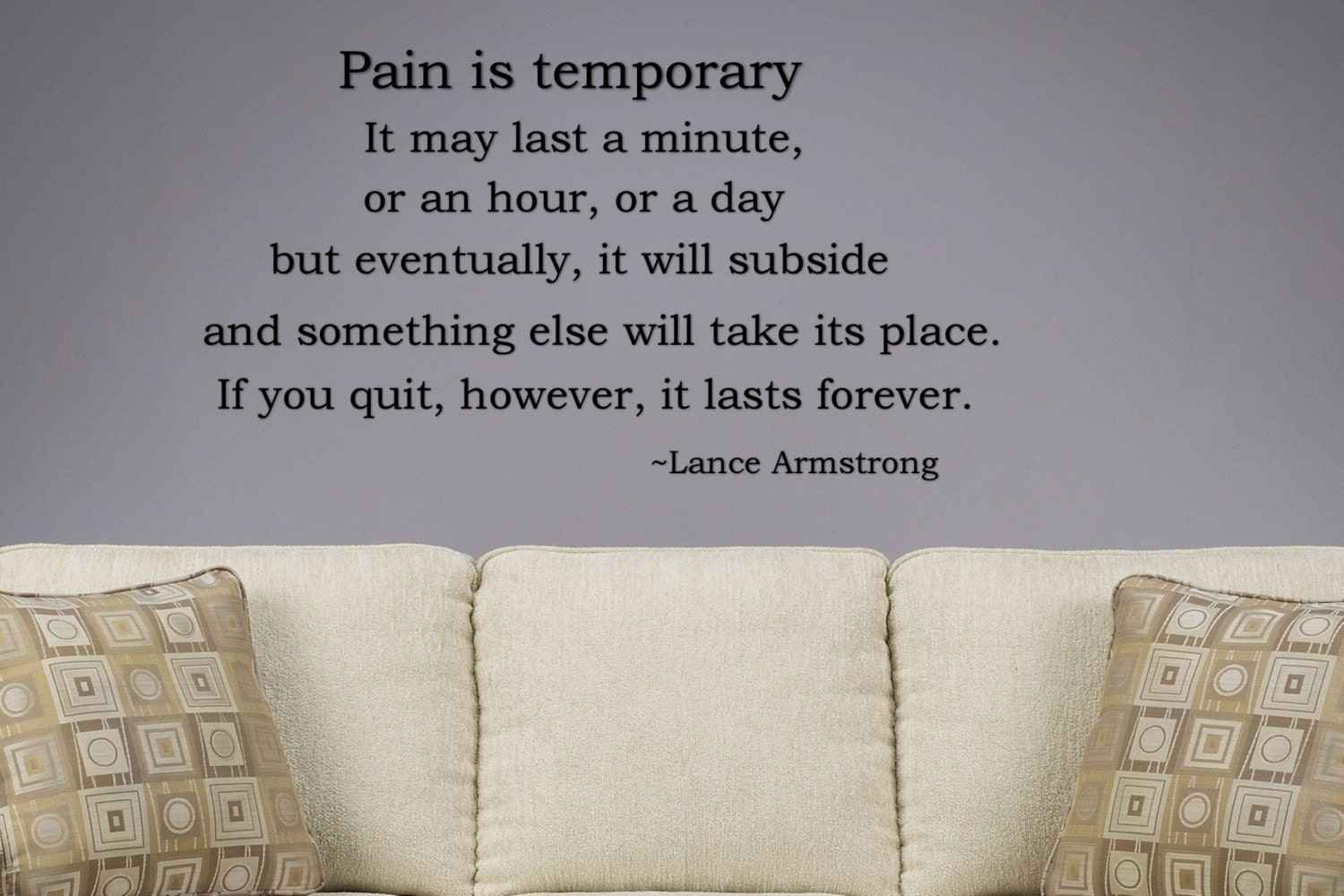Vinyl wall art sports quotes : Pain is temporary motivational vinyl wall art by