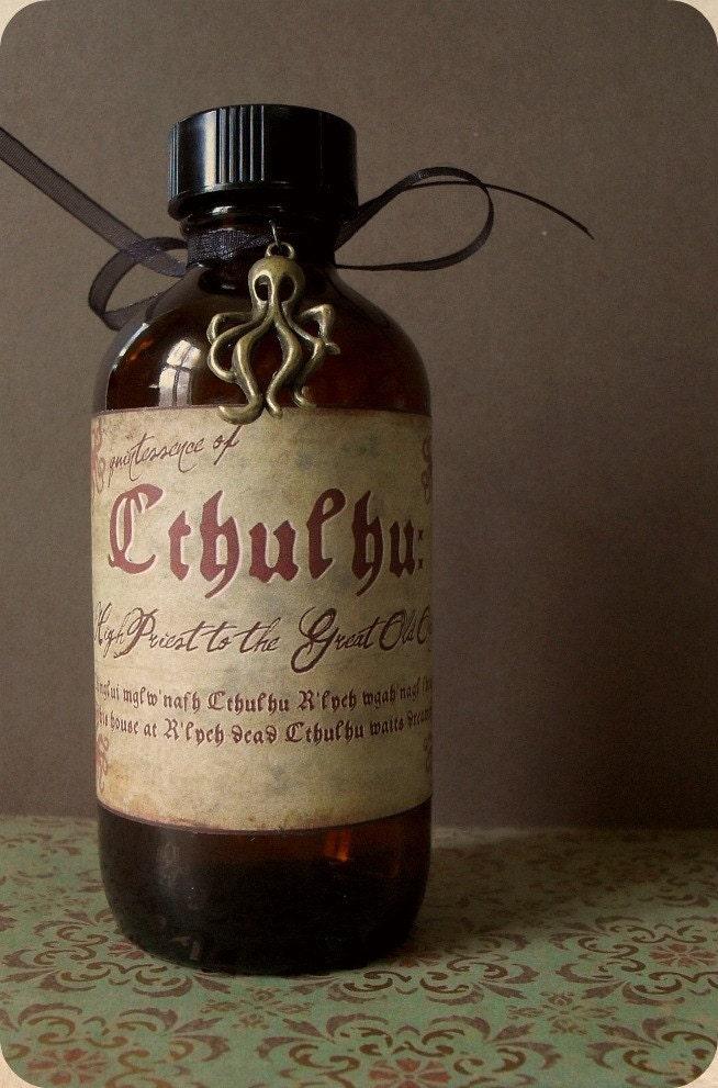 Cthulhu Glass Amber Bottle