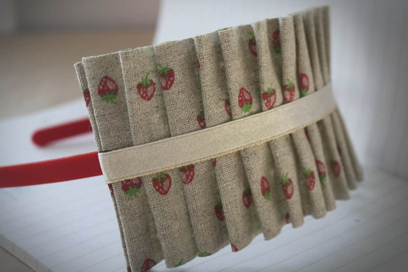 Summer Strawberry  Ruffle Band -  Linen Ruffle Headband with Ribbon Detail