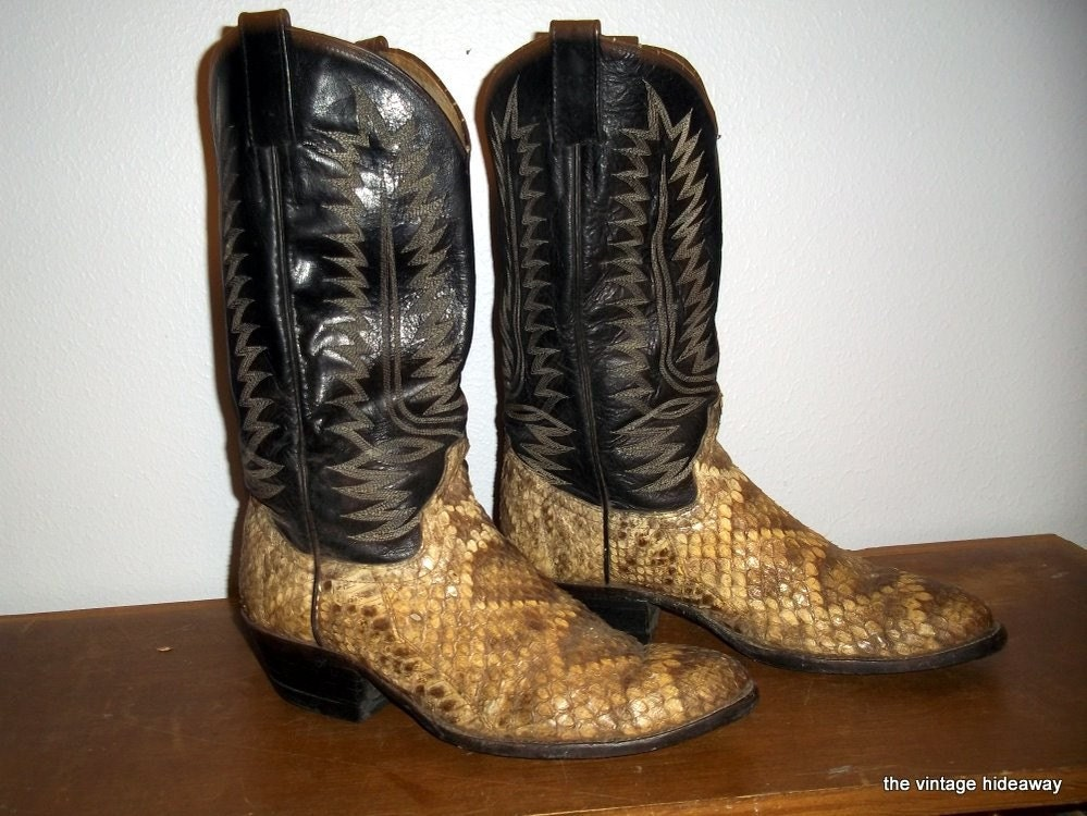 Vintage Mens Cowboy Boots Snake Skin By Thevintagehideaway