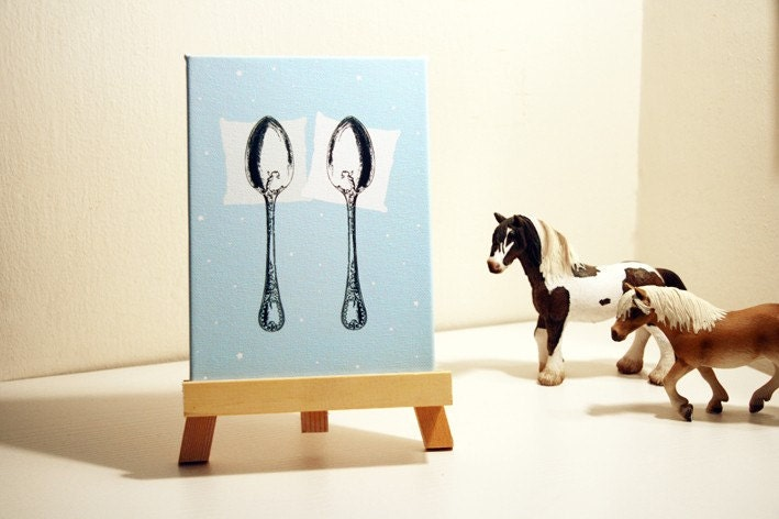 Spooning Mini Canvas BLUE 5x7'' With wooden stand
