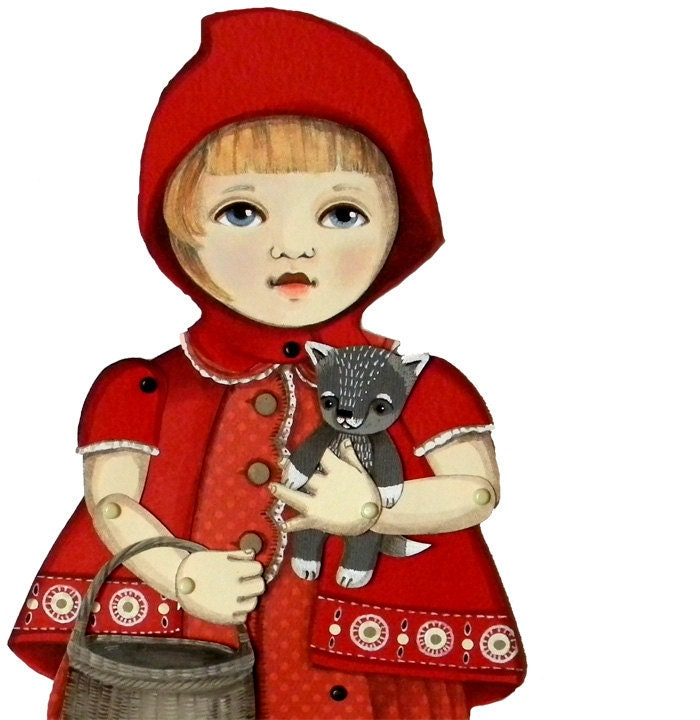 Little Red Ridinghood-- DIY Articulated Paper Doll Set - cartbeforethehorse