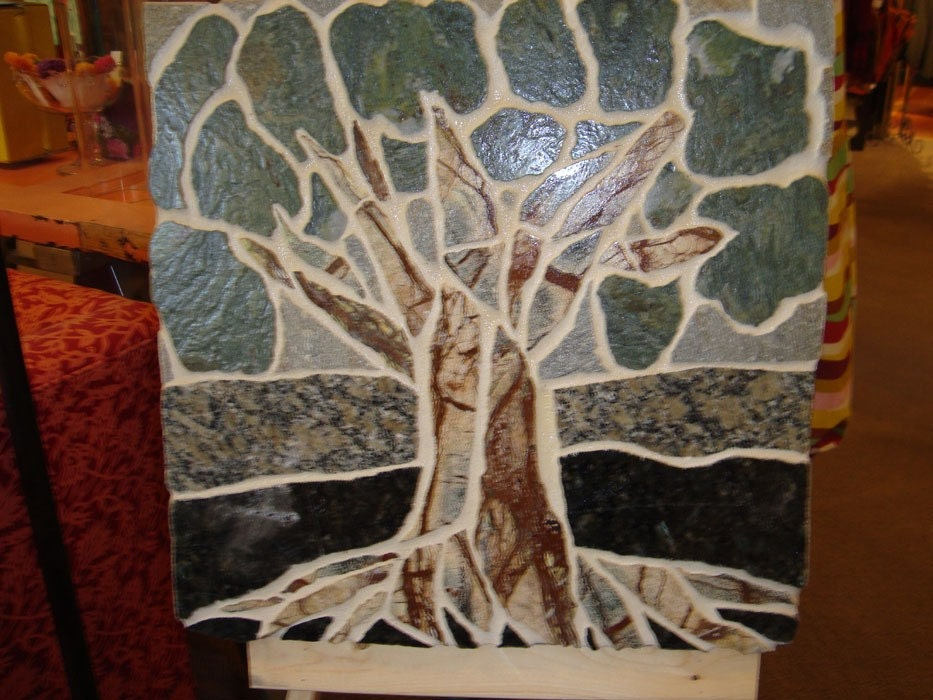 tree of life stone mural mosaic wall hanging by turtleshellco. Black Bedroom Furniture Sets. Home Design Ideas