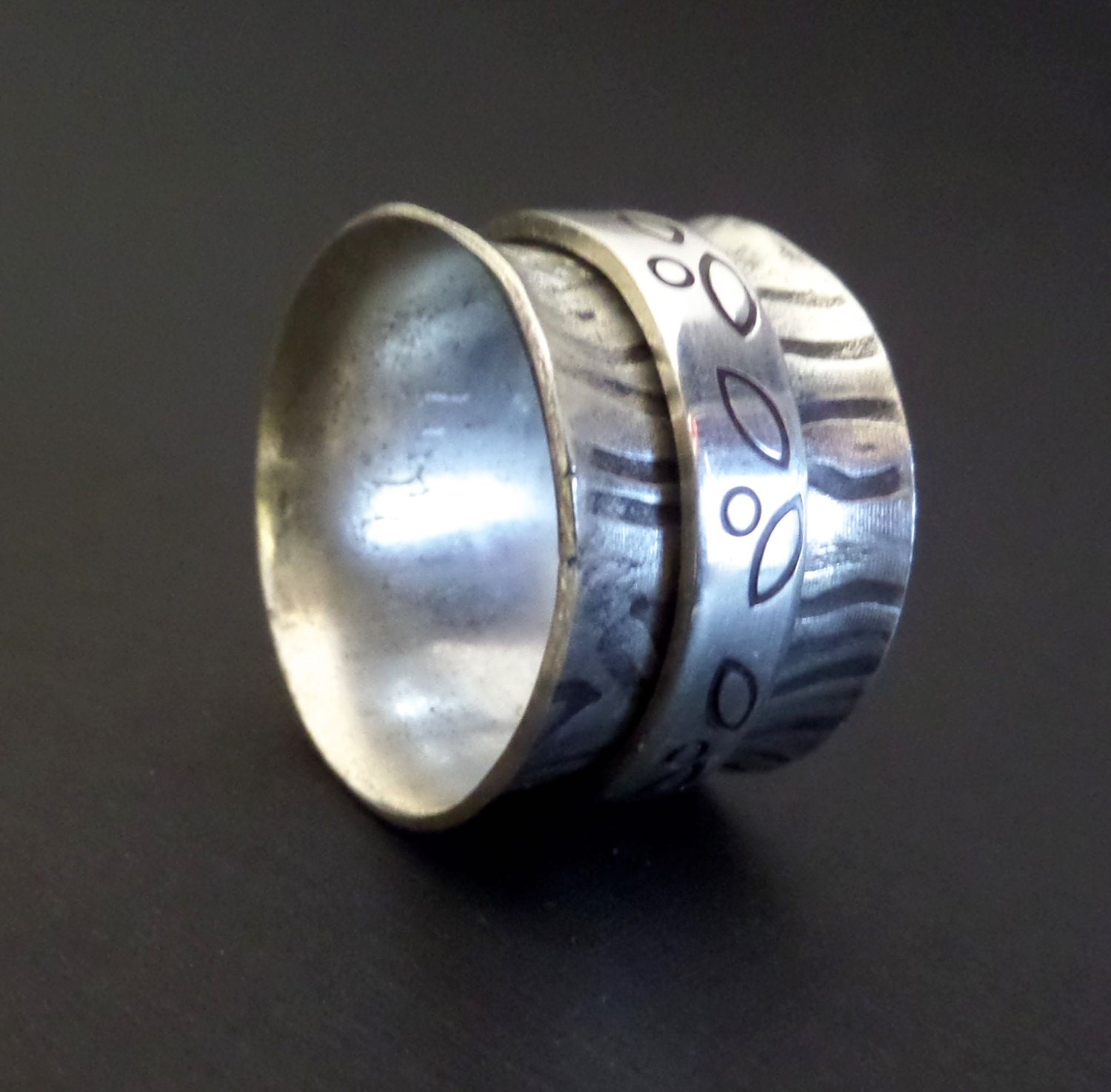 Sterling Tree Spinner Ring  Silver Ring With Spinning