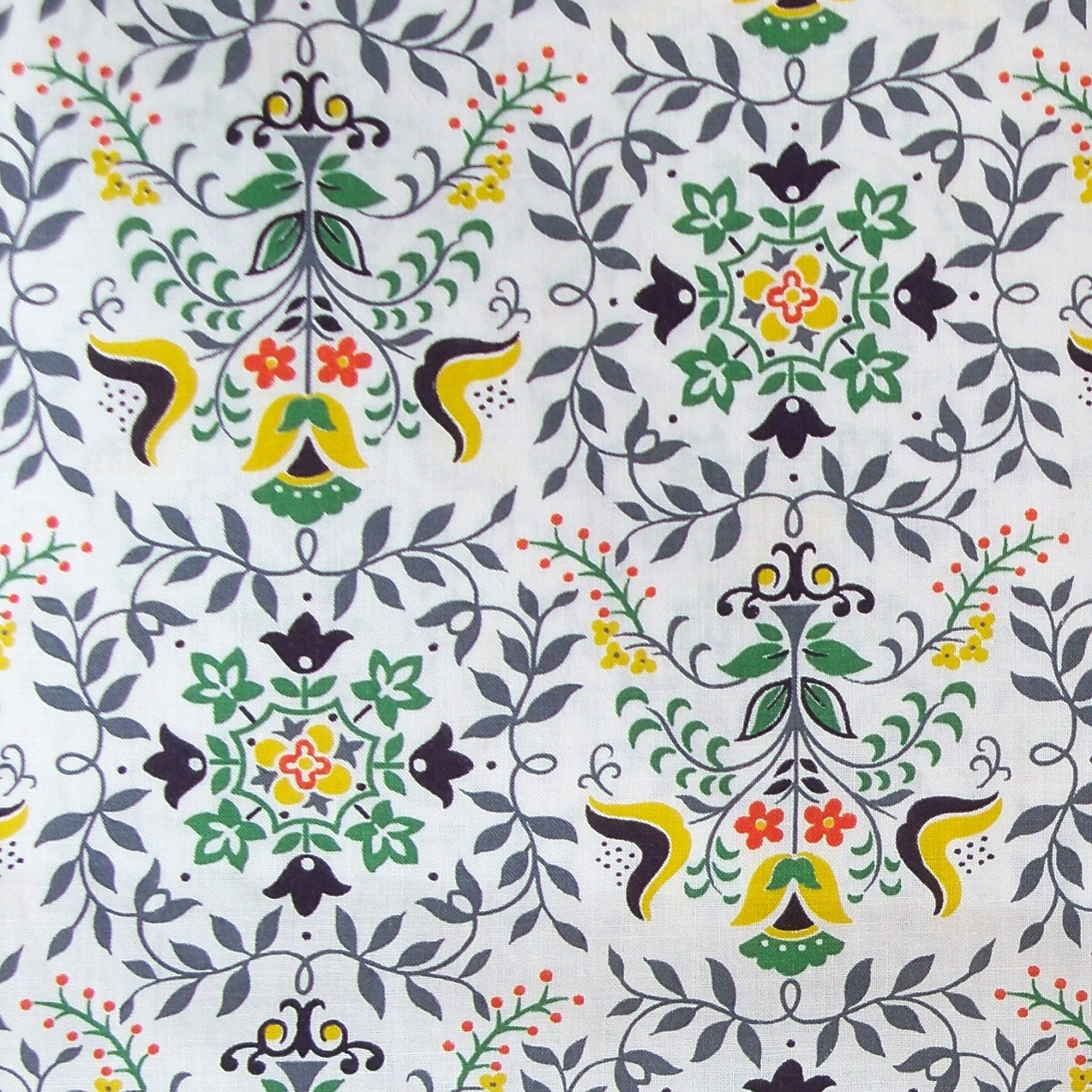 Fabric For Kitchen Curtain: Vintage 1950s Fabric Kitchen Curtain By RebeccasVintageSalon