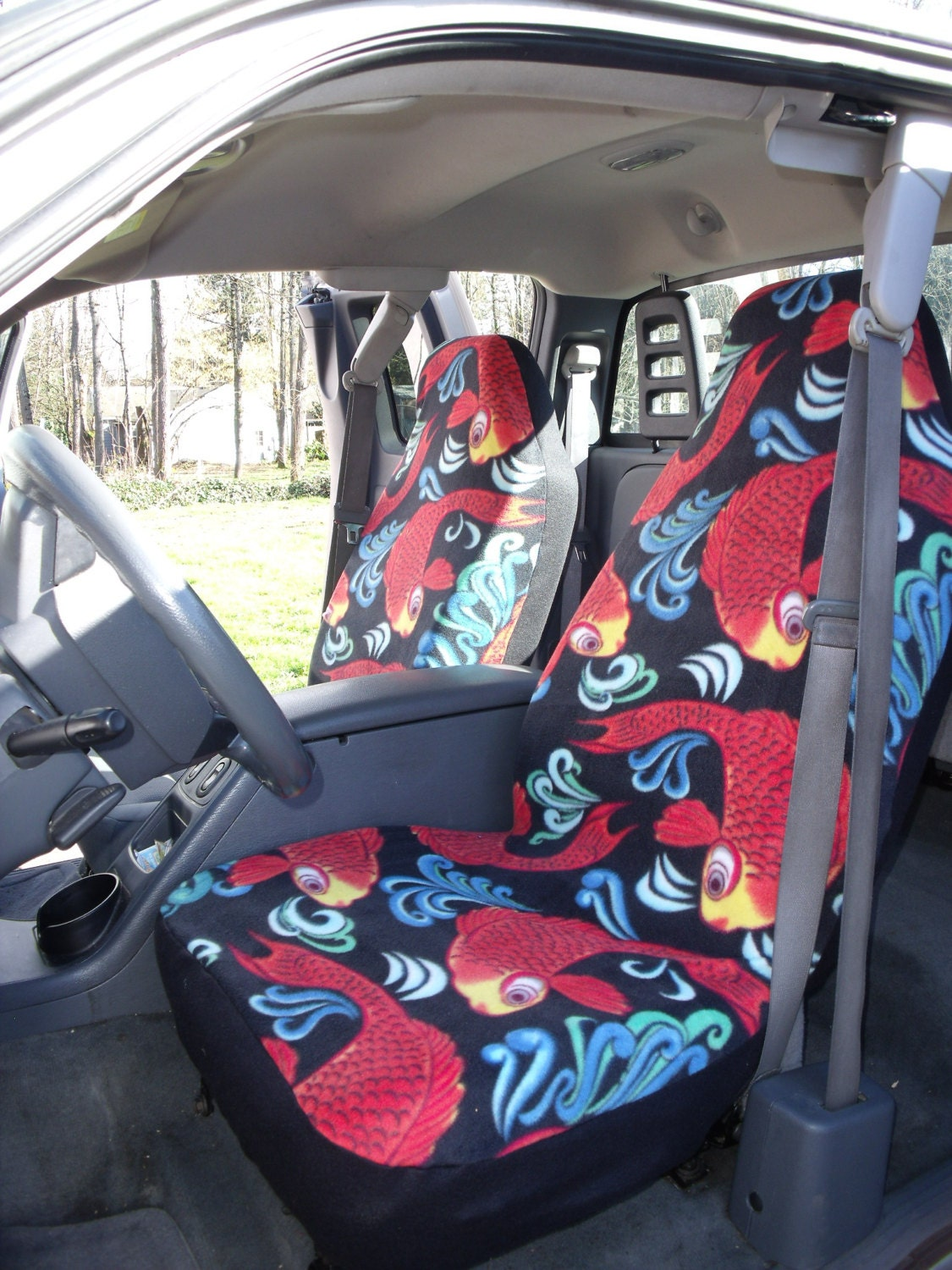 1 Set Gold Carp Custom Made Car Seat Covers By ChaiLinSews
