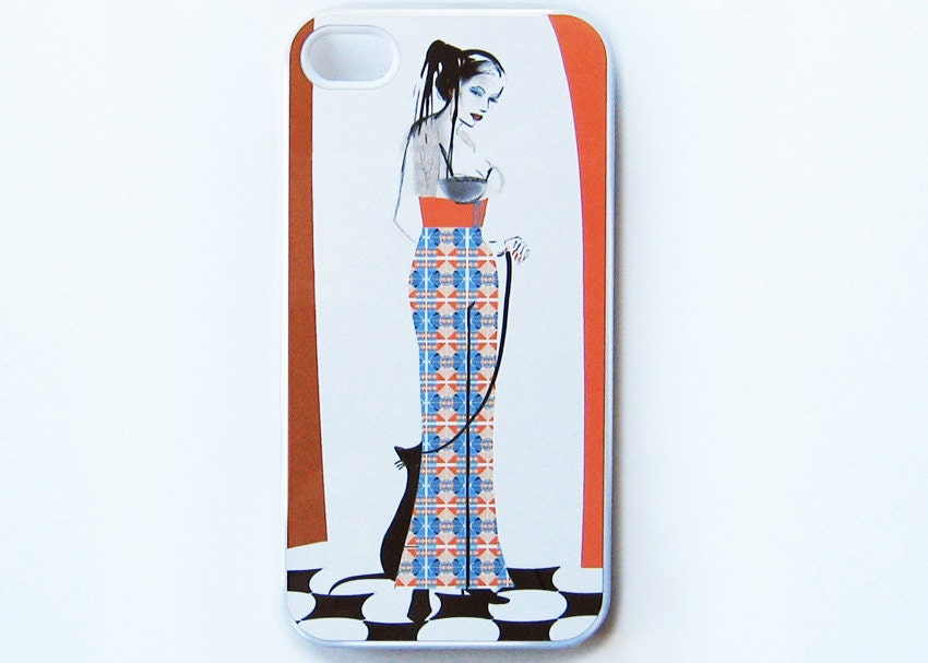 Girl iPhone 4 case, iPhone 4s case, cat iPhone 4 cover, iPhone 4s cover - HappyStripedCats