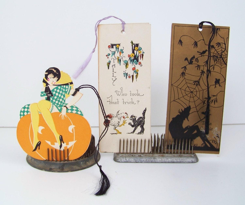 Circa 1920s Halloween Bridge Tallys Tallies - Helen's Vintage Ephemera