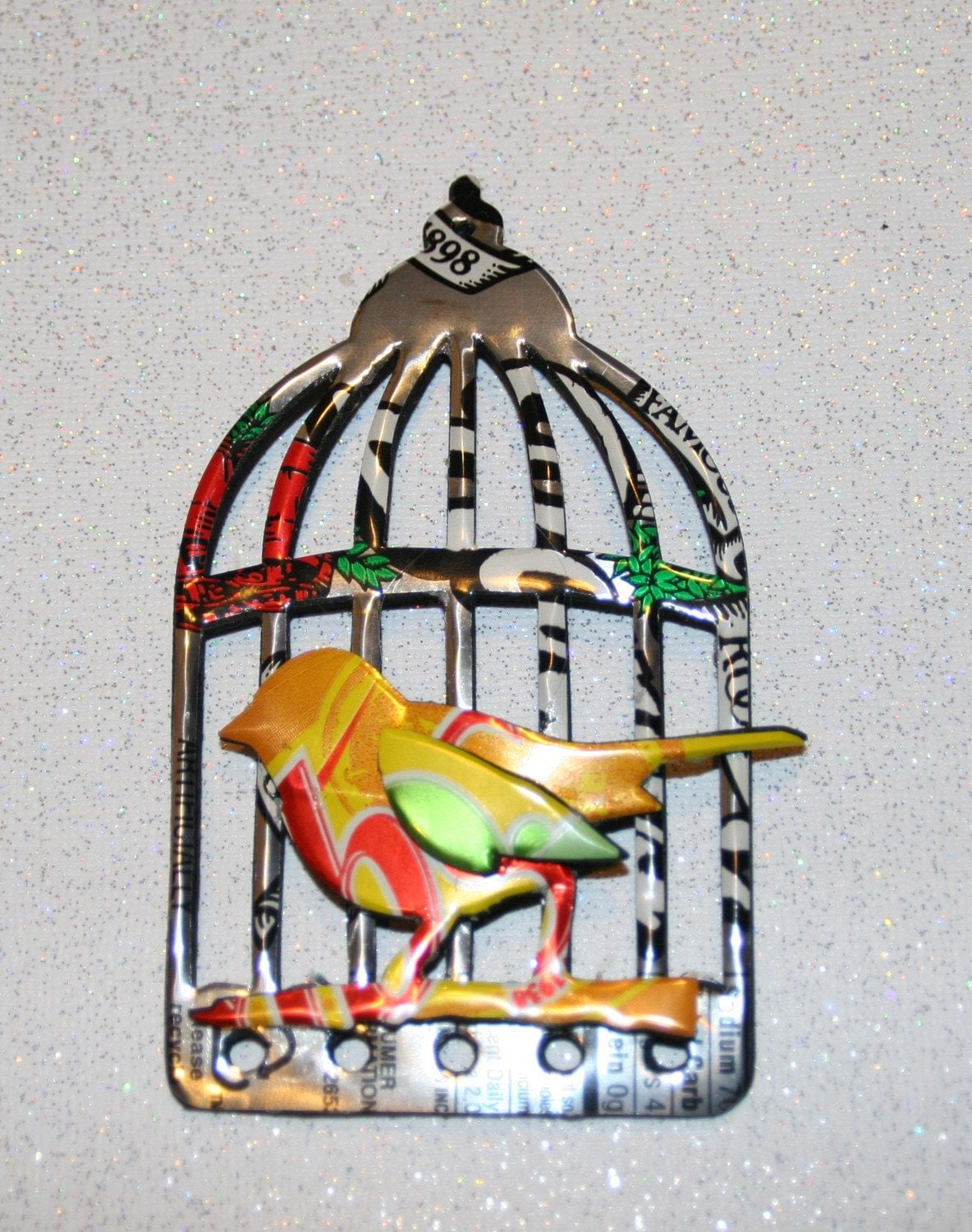 Recycled Soda Can Art-Large Bird and Bird Cage Magnet or Hang Tag