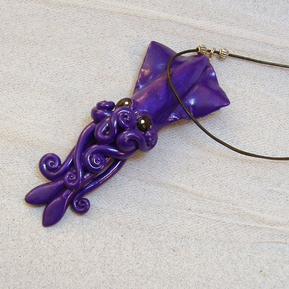 Deep Purple Squid Necklace ($30)