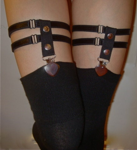 Pair of Adjustable Silver Heart Clip Thigh/Calf Sock Garter