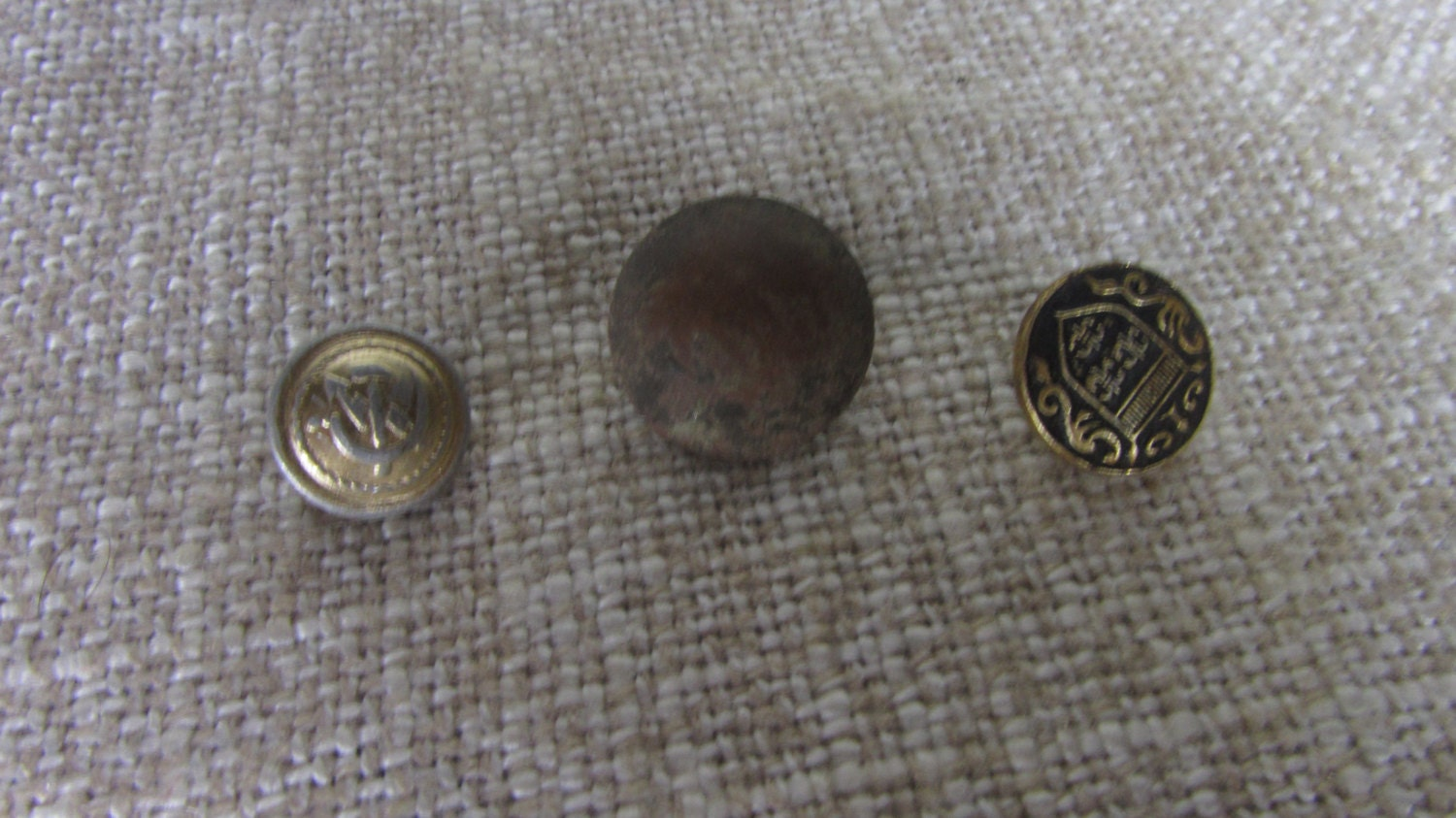 Assorted 3 Buttons Metal Buttons Set for craft, Vintage Button Military assorted