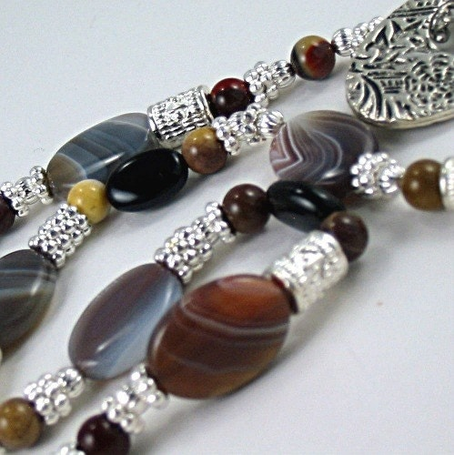 Gemstone Necklace Botswana Agate, Onyx, Mookaite-Earth Expressions