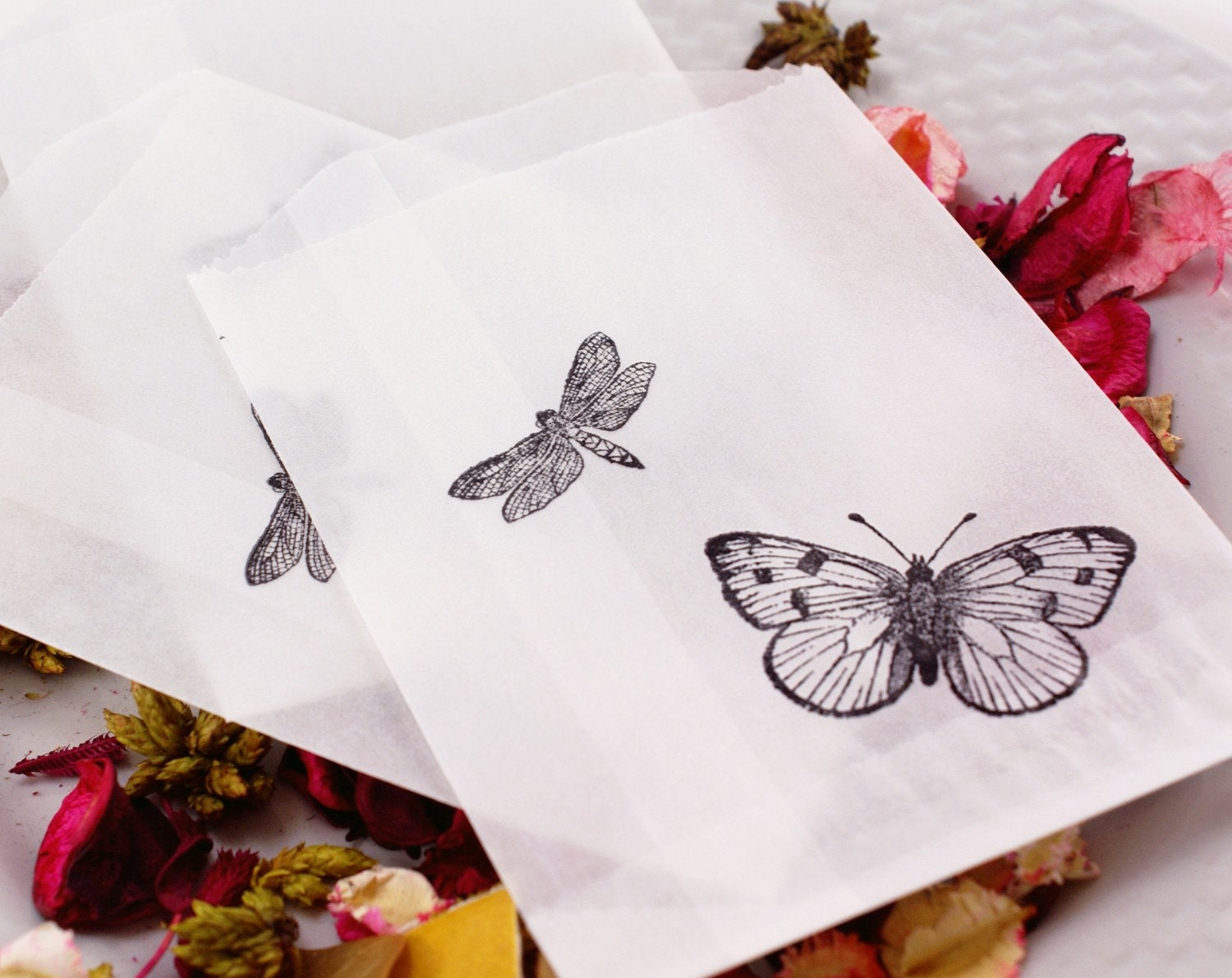 set of 100 BuTTERFLY & DRAGONFLY Hand Stamped Semi-transparent FOOD SAFE Wax Paper Glassine Bags - 3.75 x 5