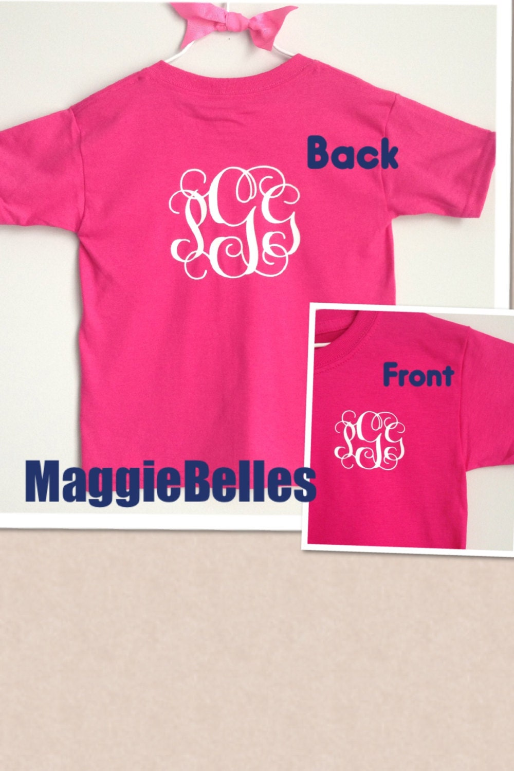 Personalized monogram t shirt toddler kids sports by for Custom photo t shirts front and back
