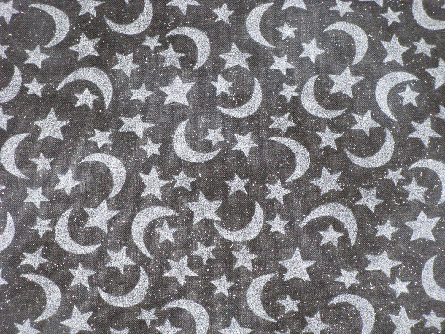 Halloween fabric cotton gray moons stars silver by corgipal for Fabric with moons and stars
