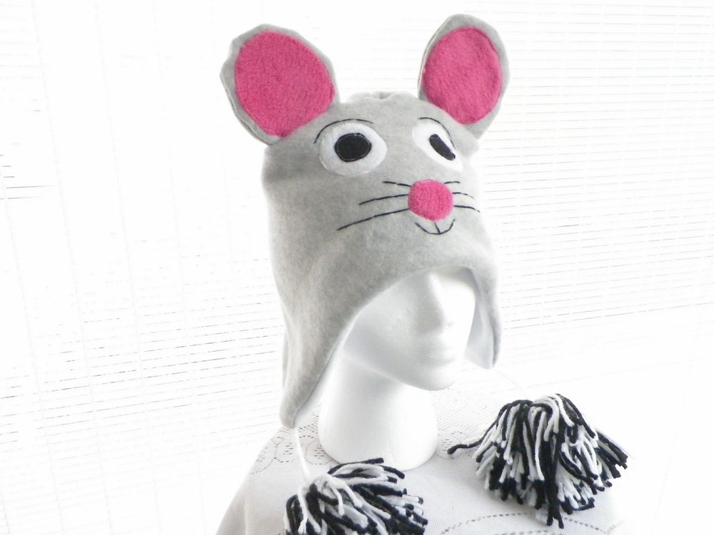 Gray Mouse Fleece Hat in Childs Large Size by Minnie Maes - MinnieMaes