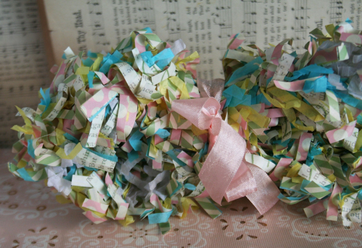 Spring Sale...Springtime Pastel Fringed Paper Garland for Easter Decorating - juliecollings