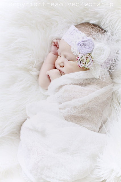 the Haven headband, lavender and white, feathers, netting, shabby chic photo prop, babies, girls - vintagepearlclothing