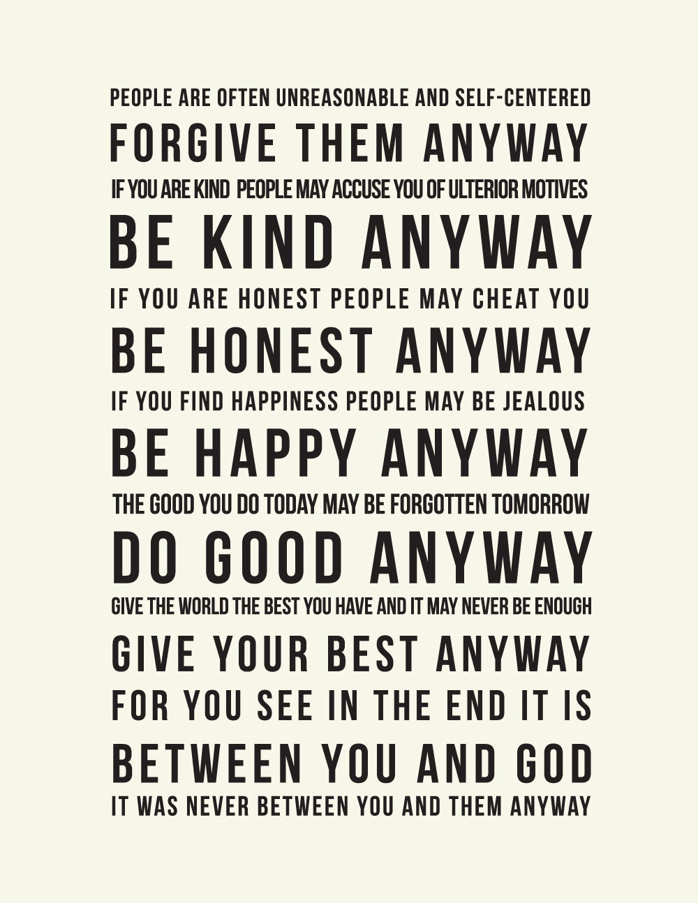 Mother Teresa Quotes Love Them Anyway Mother Teresa Quotes Do It Anyway Framed  More Information