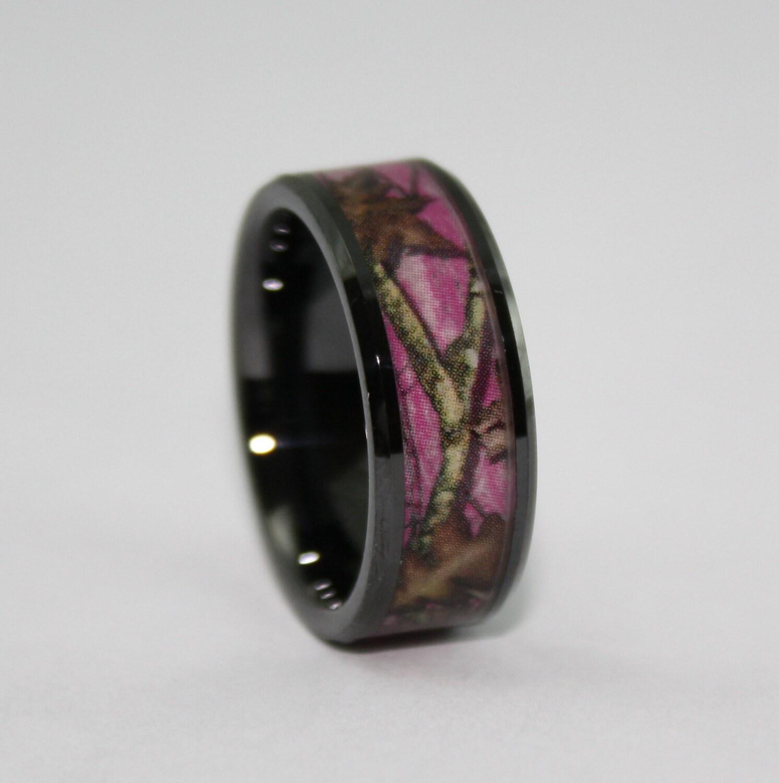 Camo ring black wedding band pink leafy camo by rustictendencies