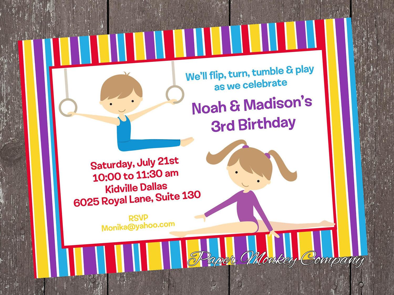 Similiar Tumbling Boys Birthday Invites Keywords – Gymnastic Birthday Invitations