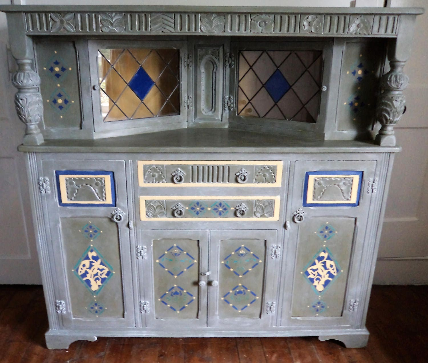 Bespoke large wooden vintage antique sideboard with arts and crafts stencils